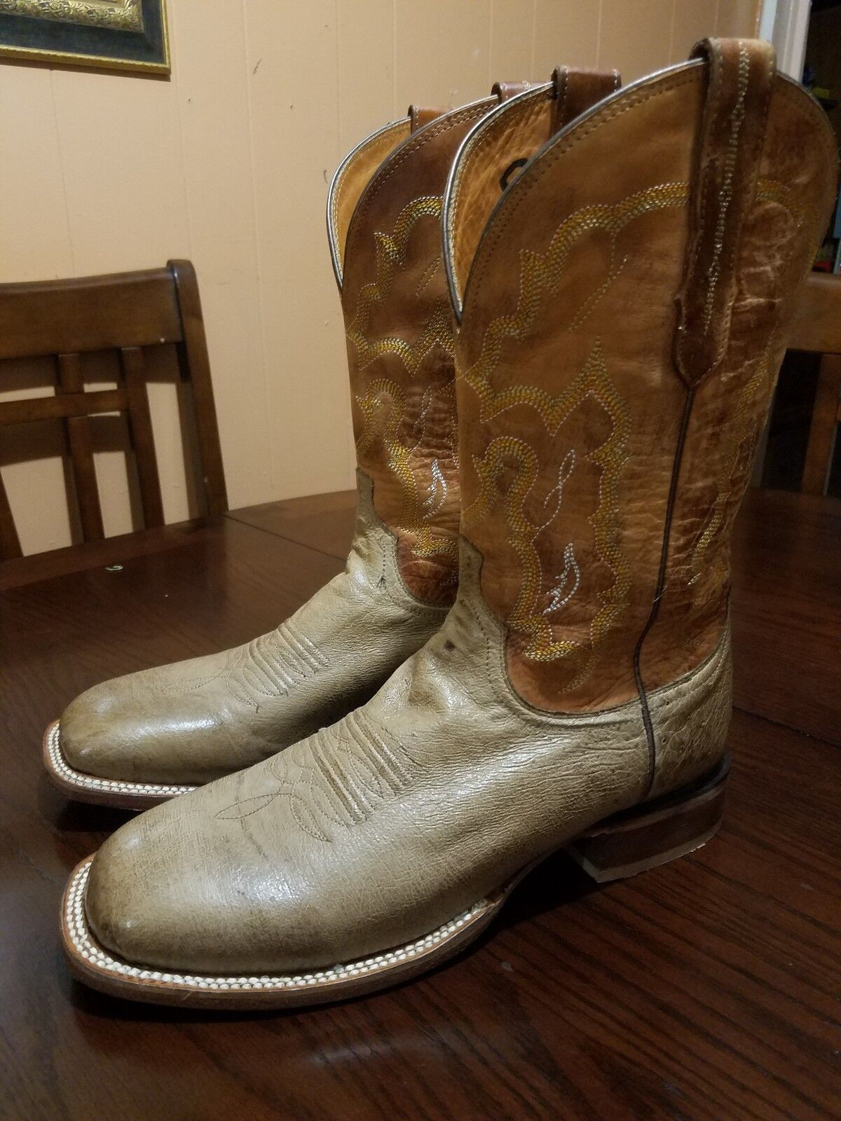 Lucchese Smooth Ostrich Square Toe Roper Cowboy Stivali Size 10.5 D
