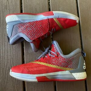 Men-039-s-Andrew-Wiggins-Adidas-Basketball-Crazylite-Boost-2-5-Red-Gold-Shoes-Sz-12