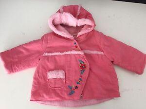 bb71cbf2e CATIMINI PINK JACKET Coat 6M Months 67 Girls Vgc Fur Lined Hood Baby ...