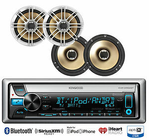 4-Marine-Polk-Audio-6-5-034-Speakers-Kenwood-Marine-Bluetooth-iPod-USB-AUX-CD-Radio