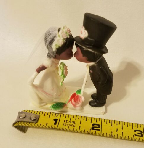 Small Black African American Bridal Wedding Couple Plastic Cake Cupcake Topper