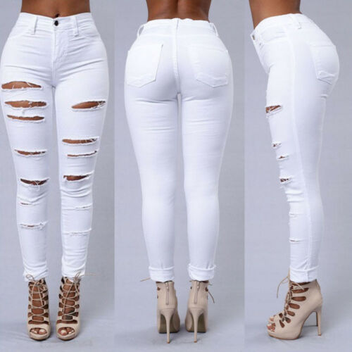 Womens High Waisted Pants Stretch Jeans Skinny Ripped Jeggings Tight Trousers 12
