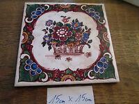 Blumen Dekor - Fliese Alt Gebraucht Tolles Motiv 15 Cm X15 Cm