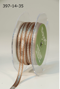 "397-14-35 Brown Ribbon-May Arts 1//4/"" Satin//Metallic Silver Cntr 5 Yds"
