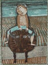 GRACIELA RODO BOULANGER - Original Lithograph - Child Riding Bull - Signed
