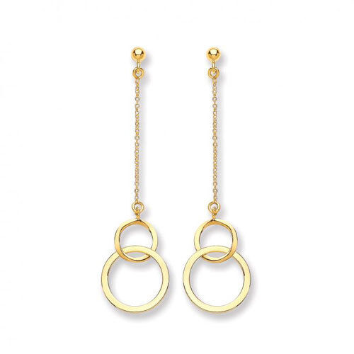 9ct Yellow gold Double Circle Drop Earrings