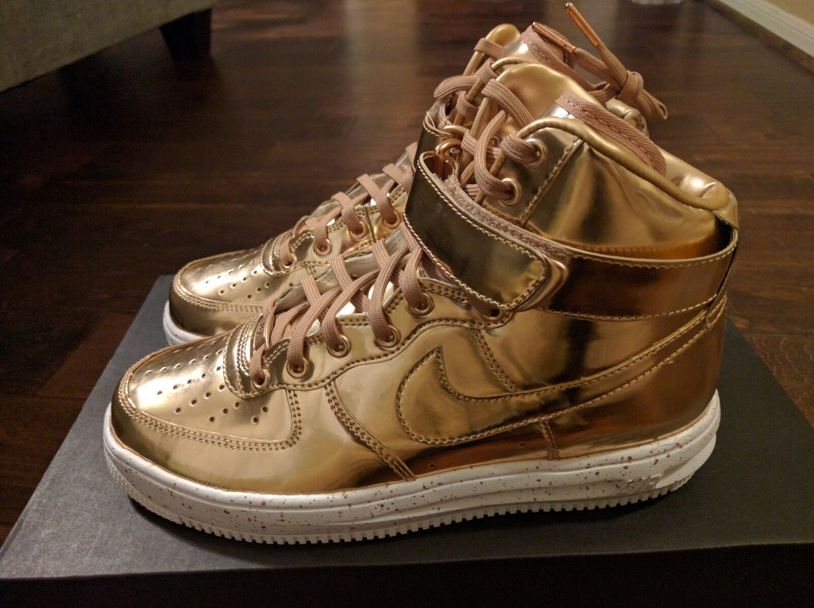 Nike air force 1 bronzo rosa d'oro metallico liquido ad alta id sneakerboots lunare