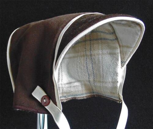 New Handmade Brown Corduroy with Plaid Flannel Lining Baby Boy Cold Weather Hat