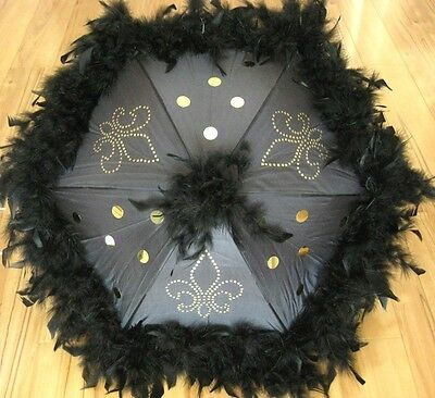 One Black Fleur De Lis Second Line Wedding Umbrellas Feather Parasol