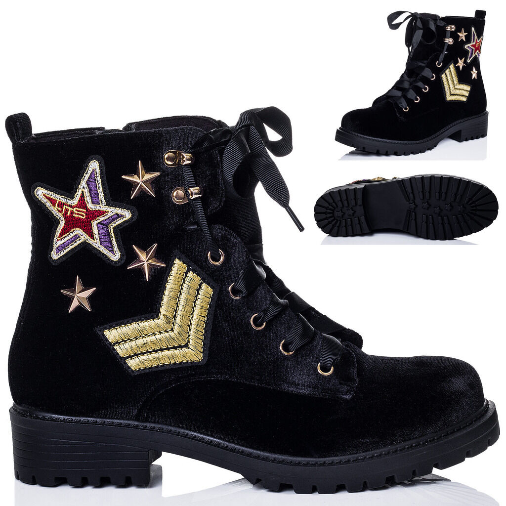Womens Ribbon Lace Up Cleated Sole Embroidered Flat Ankle Boots Shoes Sz 3-8