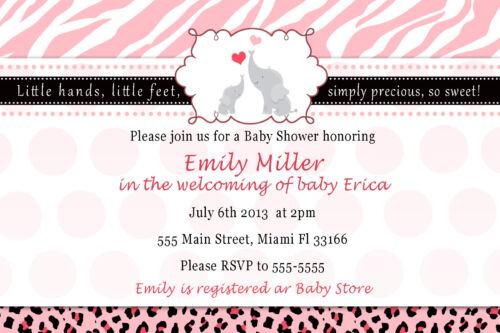 30 Invitation Jungle Zebra Elephant Baby Girl Shower Invite Personalized Card A1