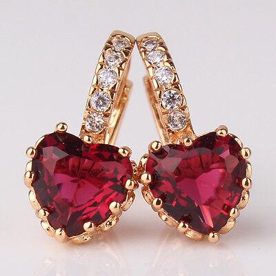 18k gold filled heart garnet twinkling newest design party leverback earring!