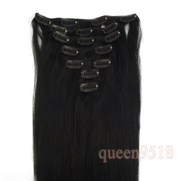 "New 15""18""20""22""24""26""28""Clip in Remy Human Hair Extensions #01 Black,70g80g120g"