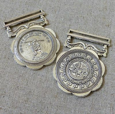 Antique Silver Colour Alloy Pendant Medal - pack of 2