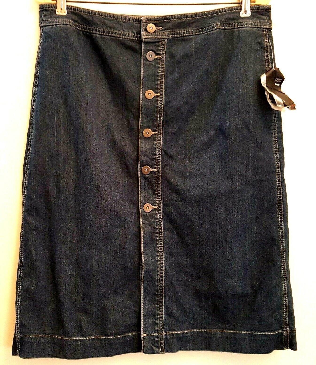 Style & Co Size 12 Petite Button-front Modest Denim Skirt 34