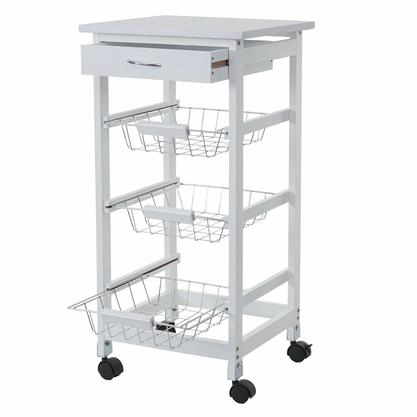 Trolley mcw-b69, Bar Cart, Kitchen Trolley Drawer 76x37x37cm White