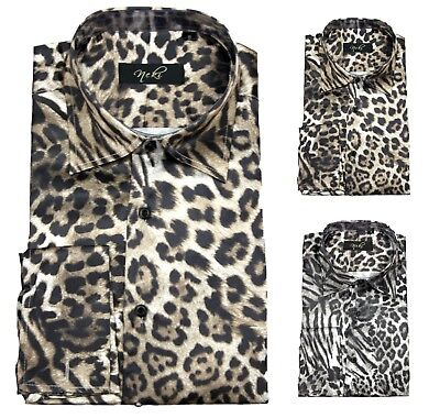 By Neki Black Animal Snake Skin Print Satin Double Cuff Dress Shirt UK Shiny