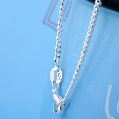 """Wholesale 10pcs 925 Sterling Solid Silver Plated 2mm Curb Chain Necklace 16/""""-30/"""""""