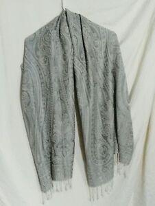 Pashmina-Shawl-Scarf-Silver-Gray-Fringe-Rayon-Acrylic-Paisley