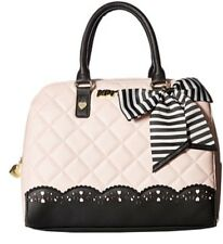Betsey Johnson LASER CUT QUILTED Diamond Blush Satchel Bow Bag NWT AUTHENTIC