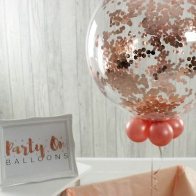 """Rose Gold Clear Confetti Balloons Birthday Wedding Hen Party Decorations 12/""""//36/"""""""