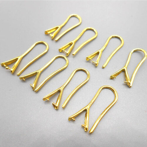 10PCS Jewelry Findings Gold Pinch Bail Hook Earring Ear Wires For Crystal Beads