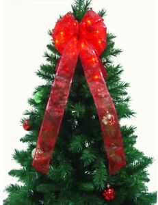 9 In Led Red Ribbon Bow Christmas Tree Lighted Ornament Topper Plug