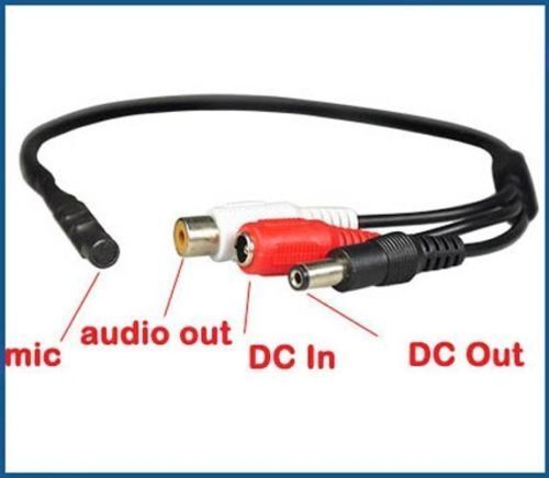 1080p CCTV Security Camera with Microphone Audio Video DC Power Cable Kit