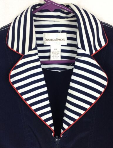 Trim Pm Drapers Striped Nautical Jacket Damons Størrelse Træk Lynlås Anker Petites wrvqnqIxT