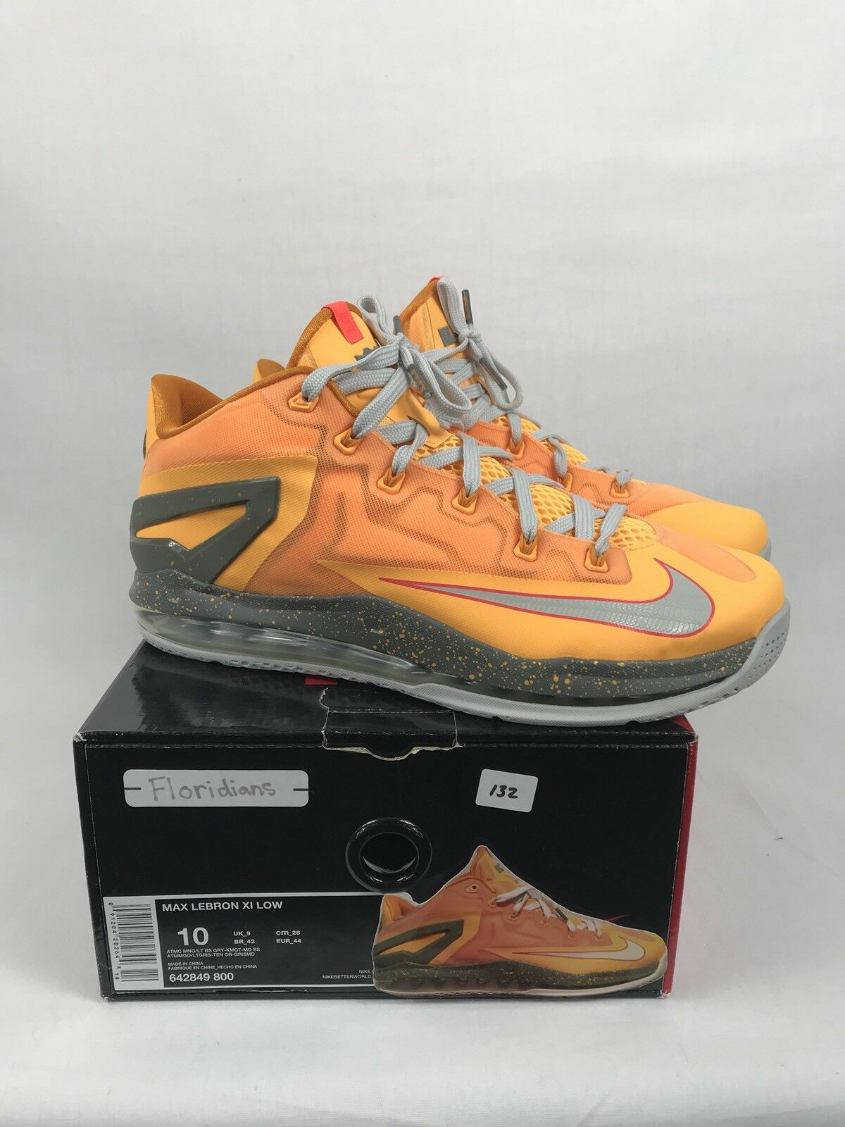 "2014 Nike Max LeBron XI(11) Low ""Floridians"" Shoes Size 10 With Box 642849-800"
