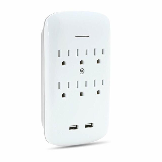 6 Outlet Multi Plug Swivel Surge Protector Wall Tap with 2 USB Charging Ports,
