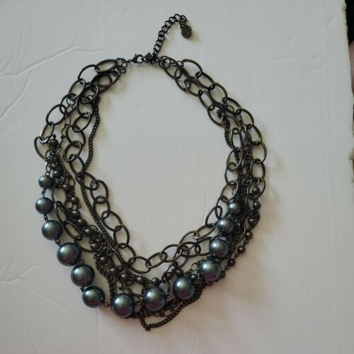 Multi Chain Blue Beaded Necklace - image 1