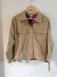 Passports Khaki Button Up Shirt / Jacket Size L