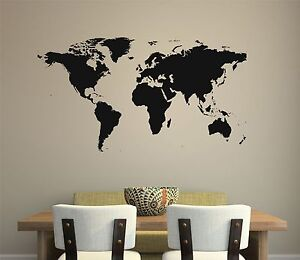 World map wall decal removable sticker home decor mural room art image is loading world map wall decal removable sticker home decor gumiabroncs Image collections