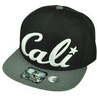 Cali California Diamond Pattern Flat Bill Black Hat Cap Snapback White Logo