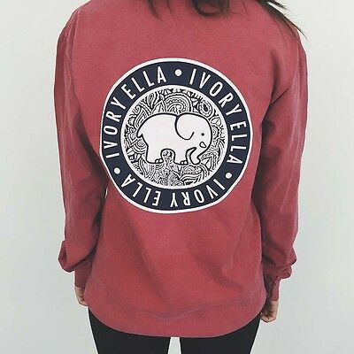 ef896c29cdb627 Elephant Ivory Ella Print Women classic soft tee Long Sleeve T-shirts red  blue