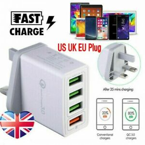 4 Multi Port Fast Quick Charge Qc 3 0 Usb Hub Wall Charger Adapter Uk Us Eu Plug Ebay