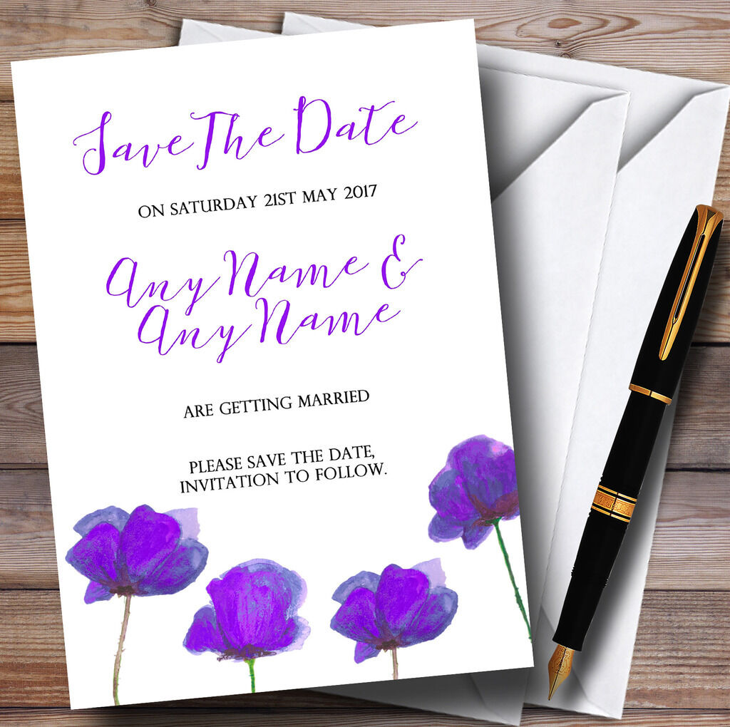 Stunning Watercolour Poppies lila Personalised Wedding Save The Date Cards