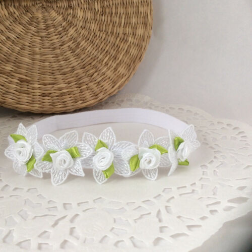 five white flowers with roses with leaves handmade UK Christening baby headband