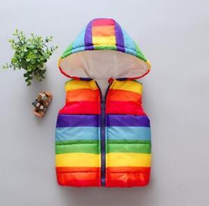 UK Kids Boys Girls Rainbow Gilet Hooded Light Vest Coat Bodywarmer Jacket