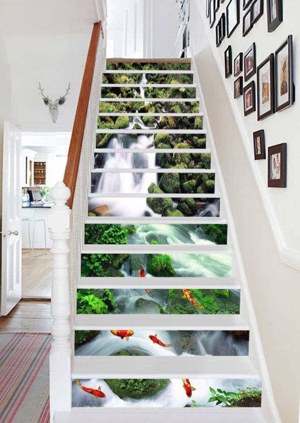 3D orfish, river Stair Risers Decoration Photo Mural Vinyl Decal Wallpaper AU