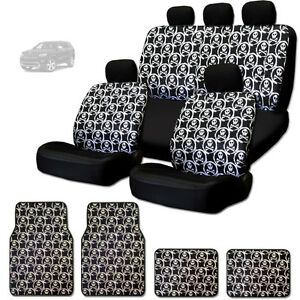 NEW COOL SKULL DESIGN FRONT AND REAR CAR SEAT COVERS FLOOR ...