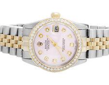 Rolex Datejust 2 Tone 18K Gold 31MM S.Steel Jubilee Pink Dial Diamond Watch 2 Ct