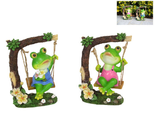 17cm Frog on Swing Fairy Garden Statue Collectable