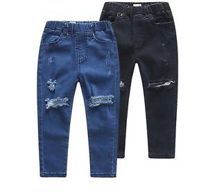 Girls Kids Stretchy Jeans Jeggings Girls Ripped Skinny Pants Denim Jeans 5-12