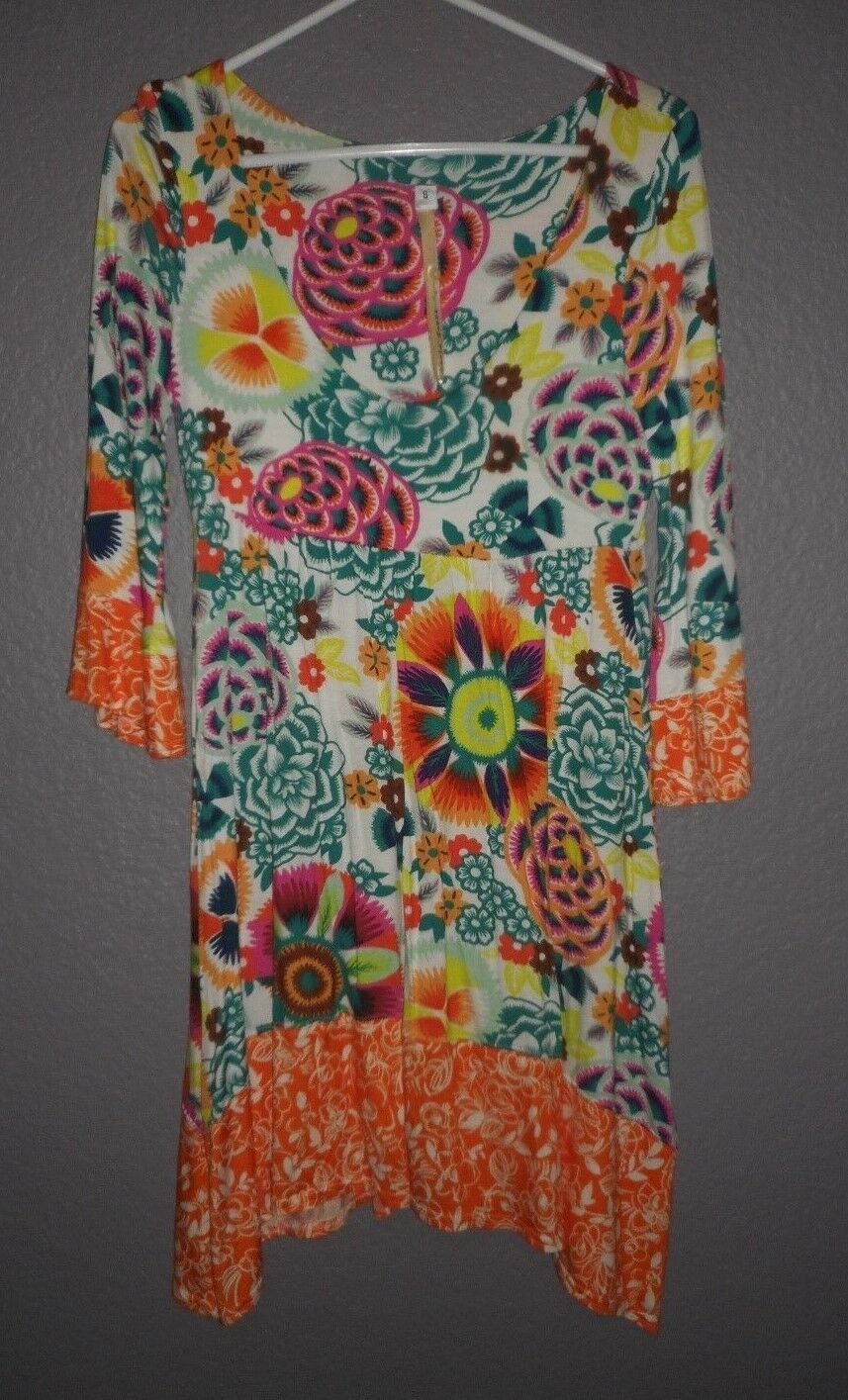 UNCLE FRANK orange Multi Jersey Tunic Stretch Dress 3 4 Bell Sleeves SMALL NEW