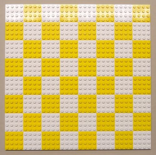 x64 NEW Lego Plates 4x4 White /& Yellow Baseplates MAKES CHESS Game Board