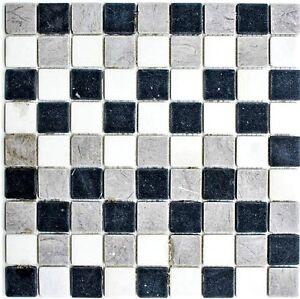 Naturstein Marmor Mosaik Grau Weiss Blau Wand Boden Bad Wb40 Mos32