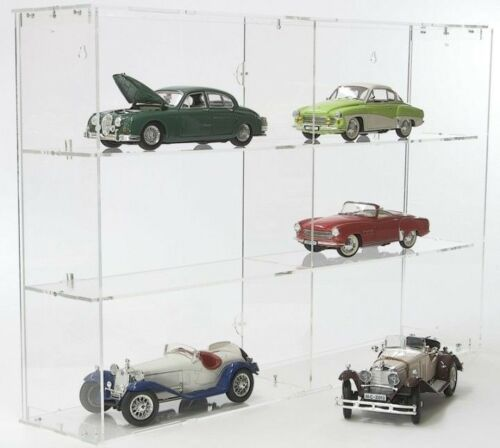 Sora modelo auto vitrina 1:18 módulo con más transparentes plano posterior para 6 maquetas de coches