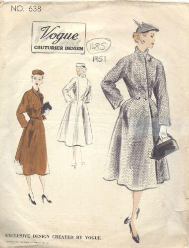 1951 Vintage VOGUE Motif de Couture Manteau B38 1485